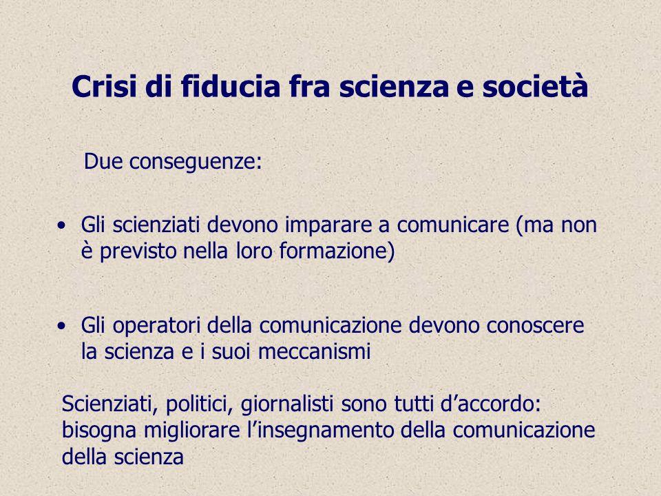 Crisi di fiducia fra scienza e società Due conseguenze: Gli scienziati devono imparare a comunicare (ma non è previsto nella loro formazione) Gli operatori della comunicazione devono conoscere la scienza e i suoi meccanismi Scienziati, politici, giornalisti sono tutti daccordo: bisogna migliorare linsegnamento della comunicazione della scienza