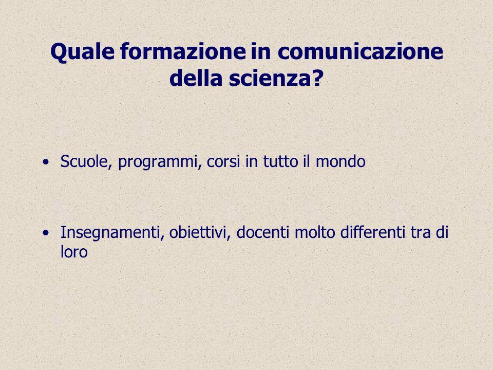 Quale formazione in comunicazione della scienza.