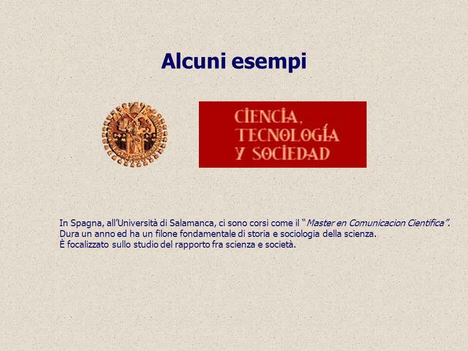 Alcuni esempi In Spagna, allUniversità di Salamanca, ci sono corsi come il Master en Comunicacion Cientifica.