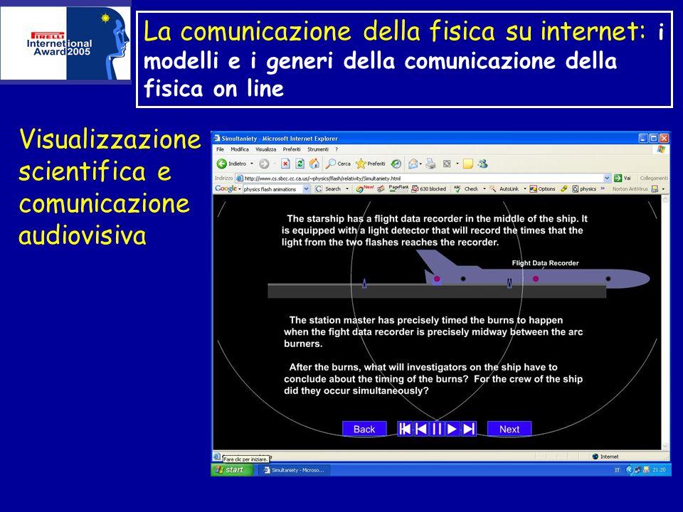 La comunicazione della fisica su internet: i modelli e i generi della comunicazione della fisica on line Visualizzazione scientifica e comunicazione audiovisiva