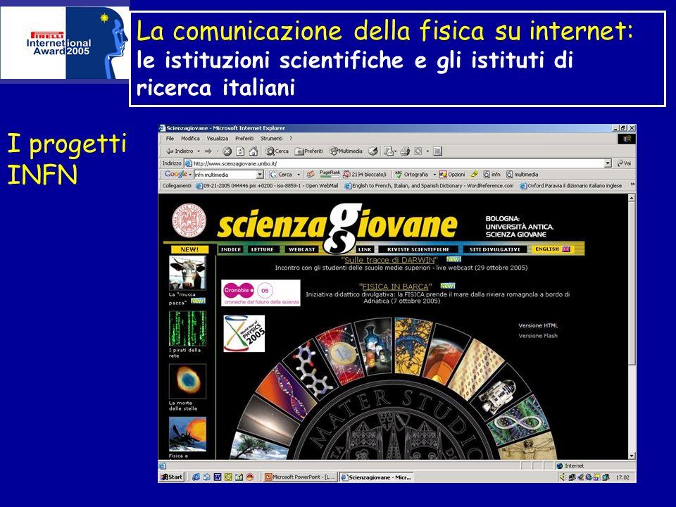 La comunicazione della fisica su internet: le istituzioni scientifiche e gli istituti di ricerca italiani I progetti INFN