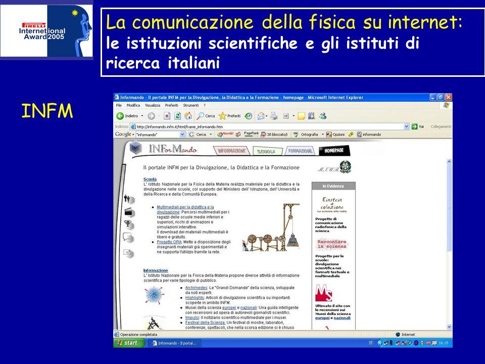 La comunicazione della fisica su internet: le istituzioni scientifiche e gli istituti di ricerca italiani INFM