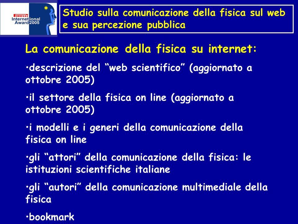 La comunicazione della fisica su internet: descrizione del web scientifico Il numero delle pagine web per argomento: Science 2.040.000.000 Books 1.130.000.000 Sex 191.000.000 Travel 1.080.000.000 News 4.760.000.000 (fonte: google.com)