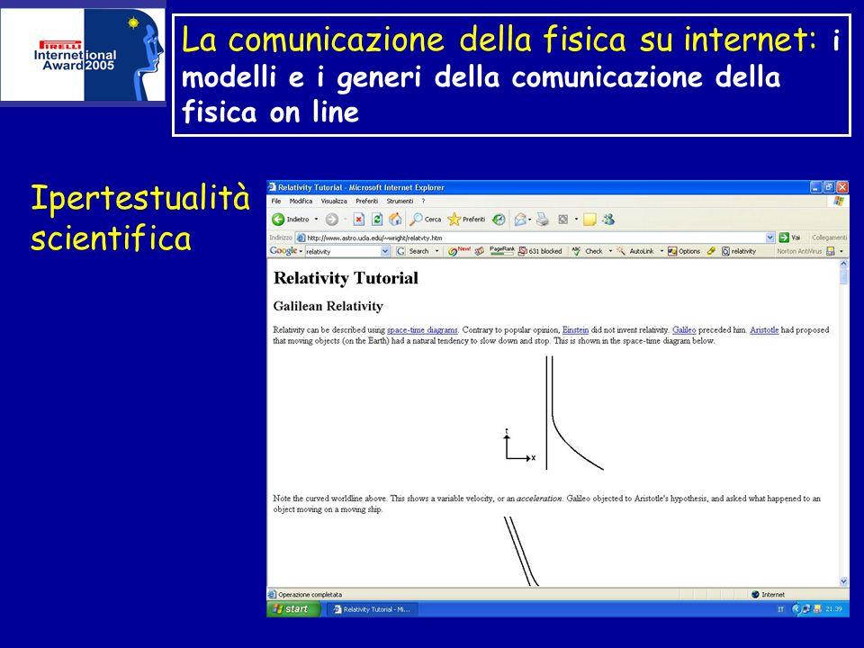 La comunicazione della fisica su internet: i modelli e i generi della comunicazione della fisica on line Ipertestualità scientifica
