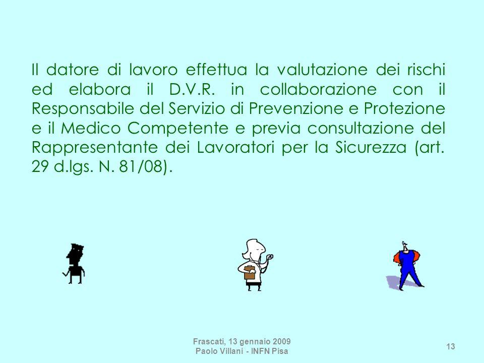 Il datore di lavoro effettua la valutazione dei rischi ed elabora il D.V.R.