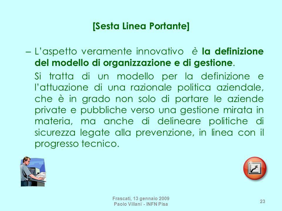 [Sesta Linea Portante] – Laspetto veramente innovativo è la definizione del modello di organizzazione e di gestione. Si tratta di un modello per la de
