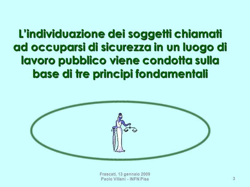 3 Lindividuazione dei soggetti chiamati ad occuparsi di sicurezza in un luogo di lavoro pubblico viene condotta sulla base di tre principi fondamentali Frascati, 13 gennaio 2009 Paolo Villani - INFN Pisa