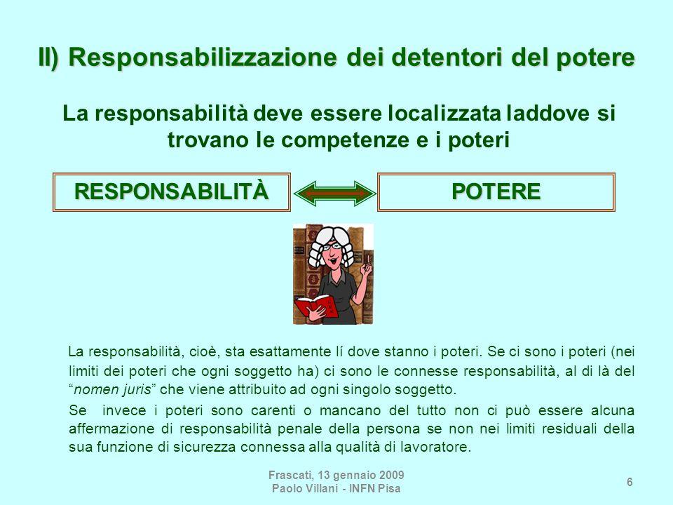 Frascati, 13 gennaio 2009 Paolo Villani - INFN Pisa 6 II) Responsabilizzazione dei detentori del potere La responsabilità, cioè, sta esattamente lí do
