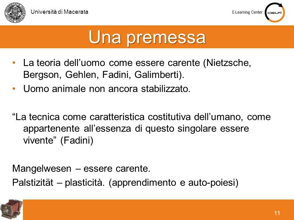 Università di Macerata 11 La teoria delluomo come essere carente (Nietzsche, Bergson, Gehlen, Fadini, Galimberti). Uomo animale non ancora stabilizzat