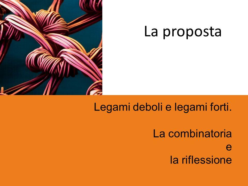 La proposta Legami deboli e legami forti. La combinatoria e la riflessione