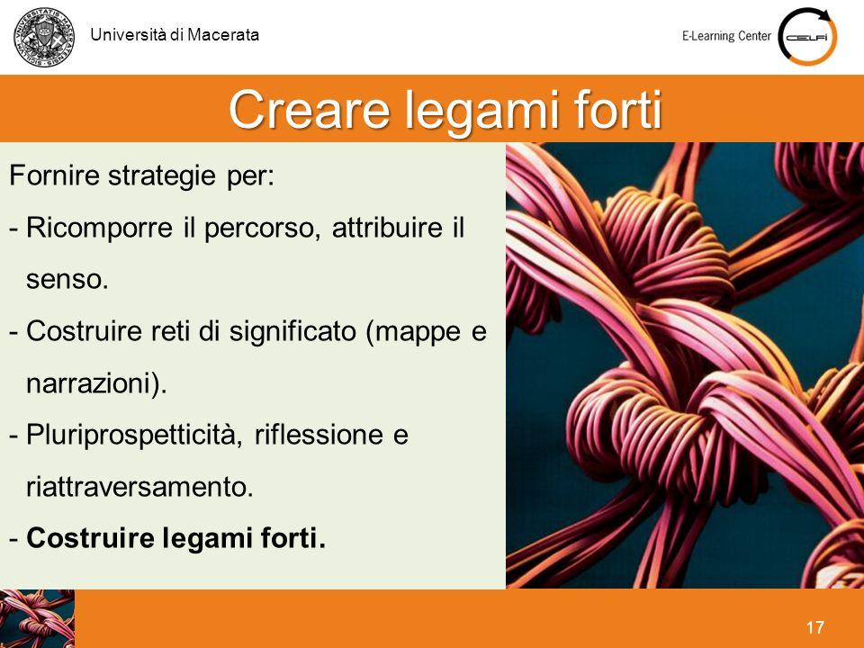 Università di Macerata 17 Creare legami forti Fornire strategie per: - Ricomporre il percorso, attribuire il senso. -Costruire reti di significato (ma