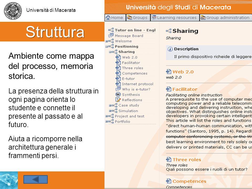 Università di Macerata 25 Struttura Ambiente come mappa del processo, memoria storica. v La presenza della struttura in ogni pagina orienta lo student