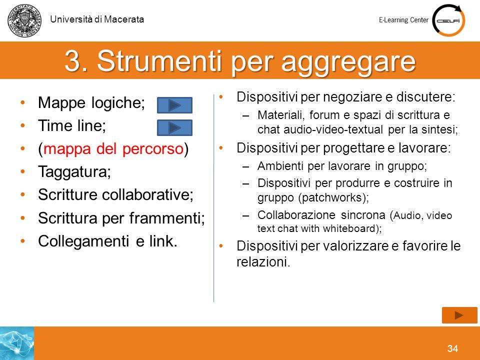 Università di Macerata 34 3. Strumenti per aggregare Mappe logiche; Time line; (mappa del percorso) Taggatura; Scritture collaborative; Scrittura per