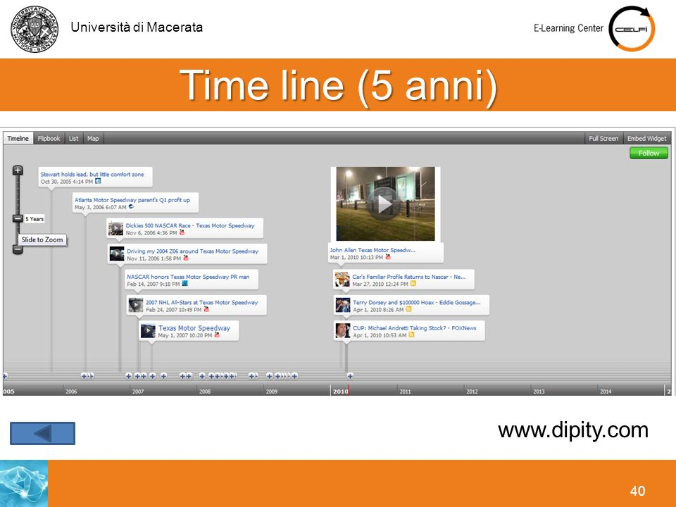 Università di Macerata 40 Time line (5 anni) www.dipity.com