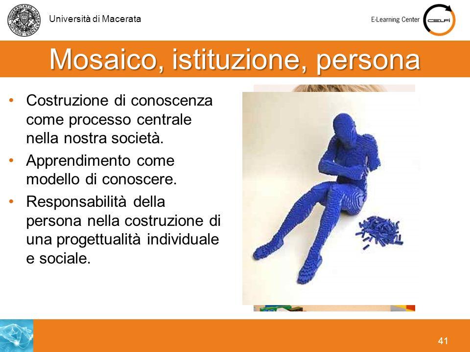 Università di Macerata 41 Mosaico, istituzione, persona Costruzione di conoscenza come processo centrale nella nostra società. Apprendimento come mode