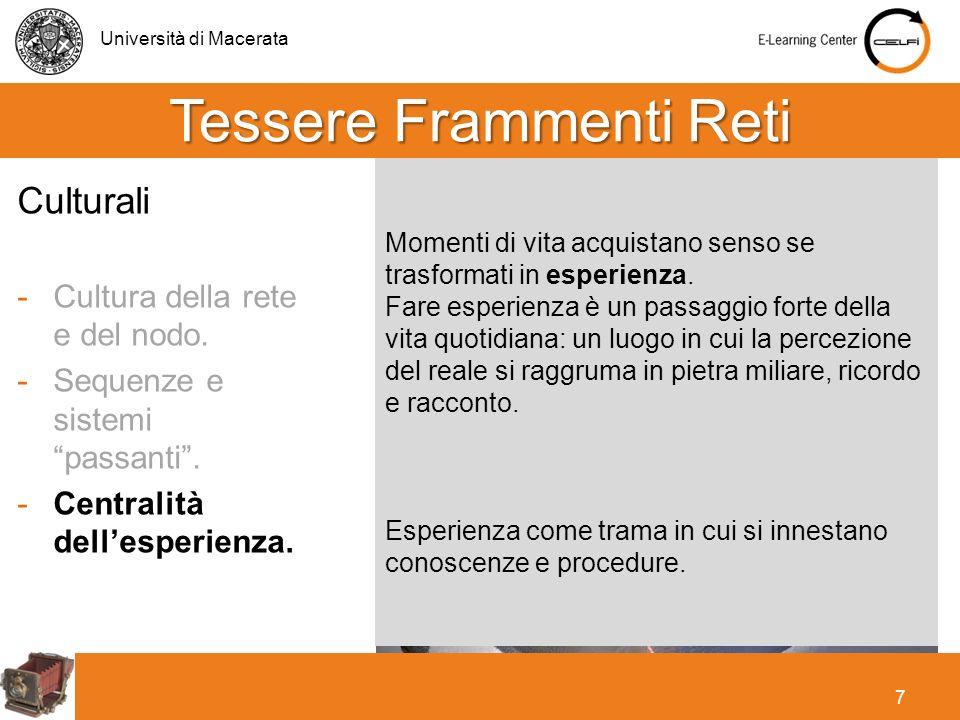 Università di Macerata 7 Momenti di vita acquistano senso se trasformati in esperienza. Fare esperienza è un passaggio forte della vita quotidiana: un