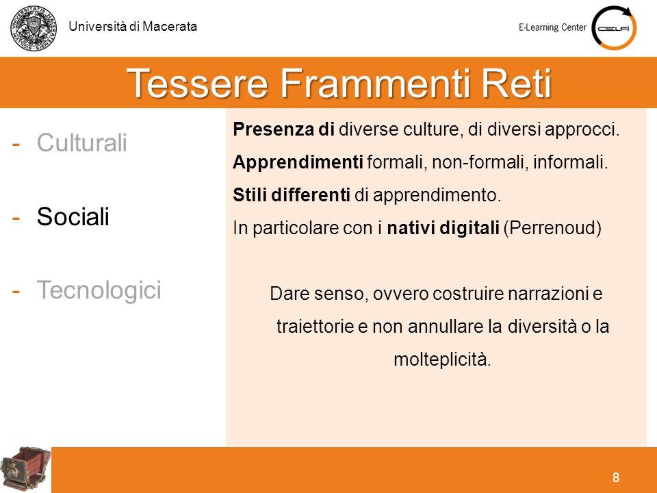 Università di Macerata 8 -Culturali -Sociali -Tecnologici Presenza di diverse culture, di diversi approcci. Apprendimenti formali, non-formali, inform