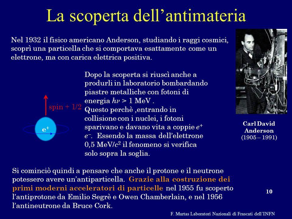 F. Murtas Laboratori Nazionali di Frascati dellINFN La scoperta dellantimateria 10 Nel 1932 il fisico americano Anderson, studiando i raggi cosmici, s