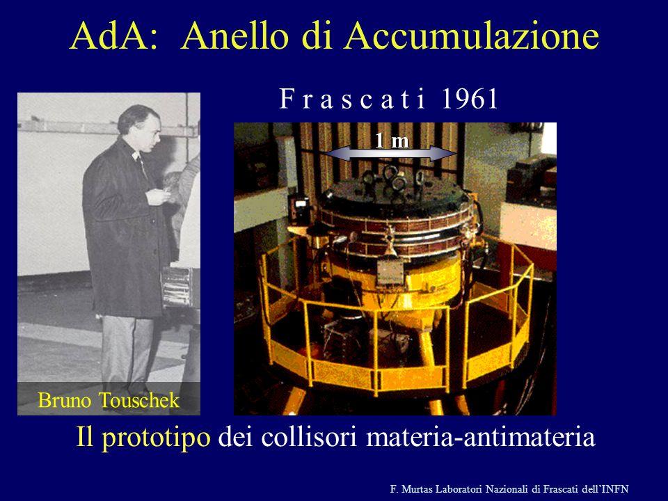F. Murtas Laboratori Nazionali di Frascati dellINFN AdA: Anello di Accumulazione F r a s c a t i 1961 Il prototipo dei collisori materia-antimateria 1