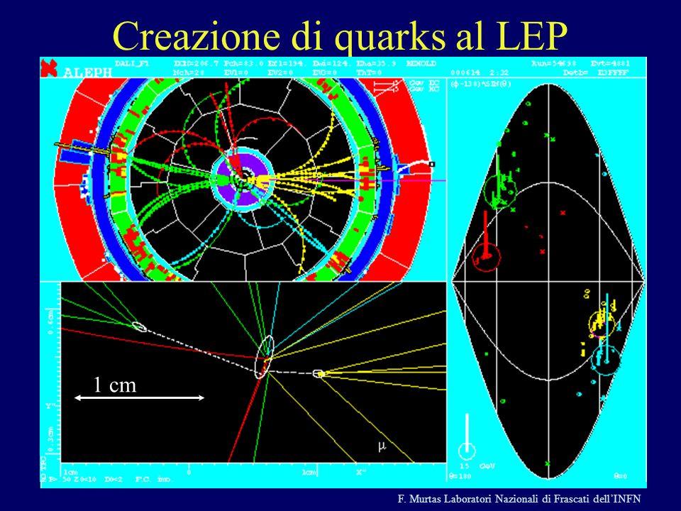 F. Murtas Laboratori Nazionali di Frascati dellINFN e + e - q q e + e - q q g Creazione di quarks al LEP 1 cm