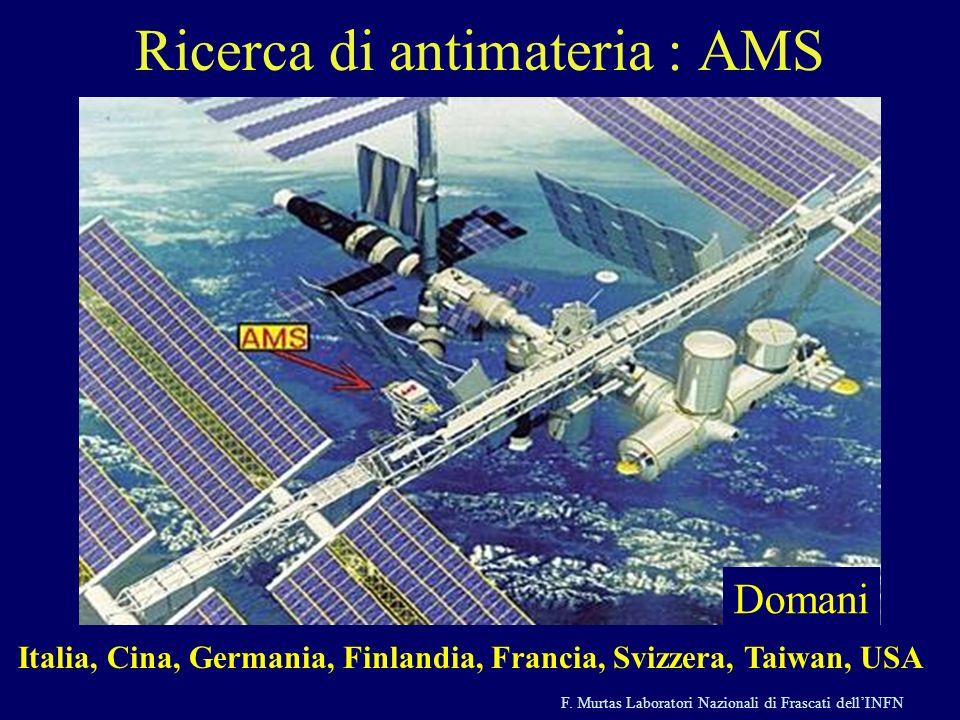 F. Murtas Laboratori Nazionali di Frascati dellINFN Ieri Domani Ricerca di antimateria : AMS Italia, Cina, Germania, Finlandia, Francia, Svizzera, Tai