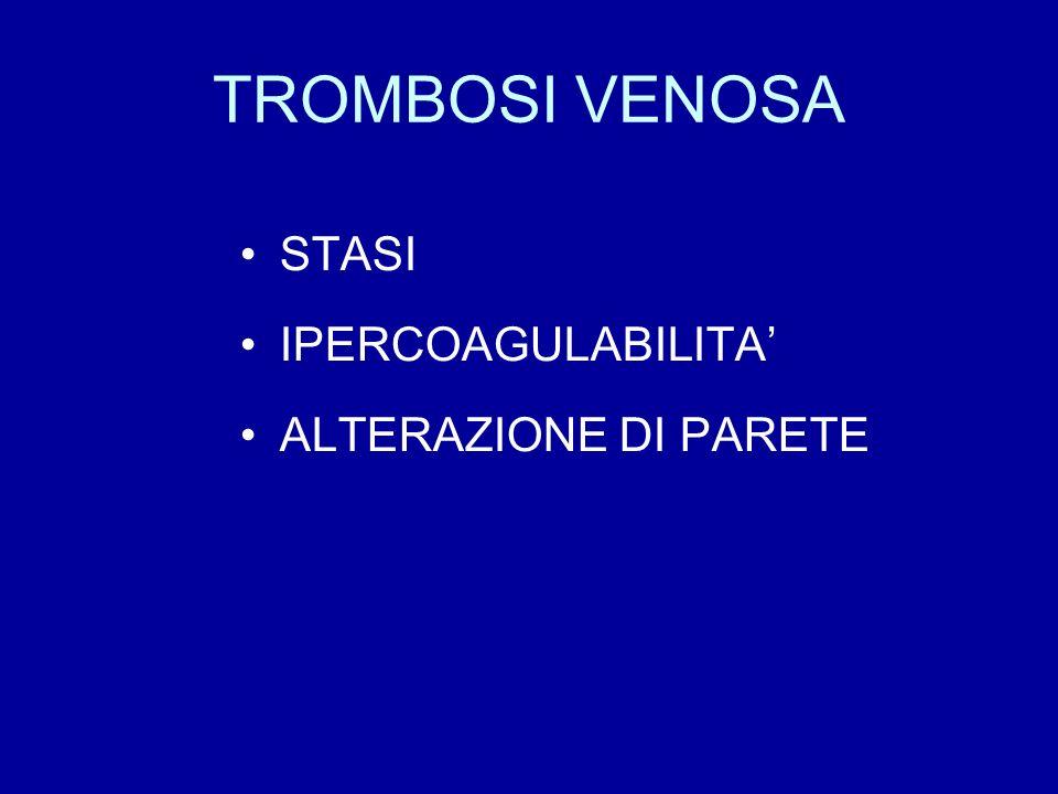 TROMBOSI VENOSA STASI IPERCOAGULABILITA ALTERAZIONE DI PARETE