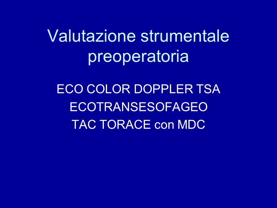 Valutazione strumentale preoperatoria ECO COLOR DOPPLER TSA ECOTRANSESOFAGEO TAC TORACE con MDC