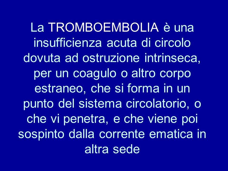 La TROMBOEMBOLIA è una insufficienza acuta di circolo dovuta ad ostruzione intrinseca, per un coagulo o altro corpo estraneo, che si forma in un punto