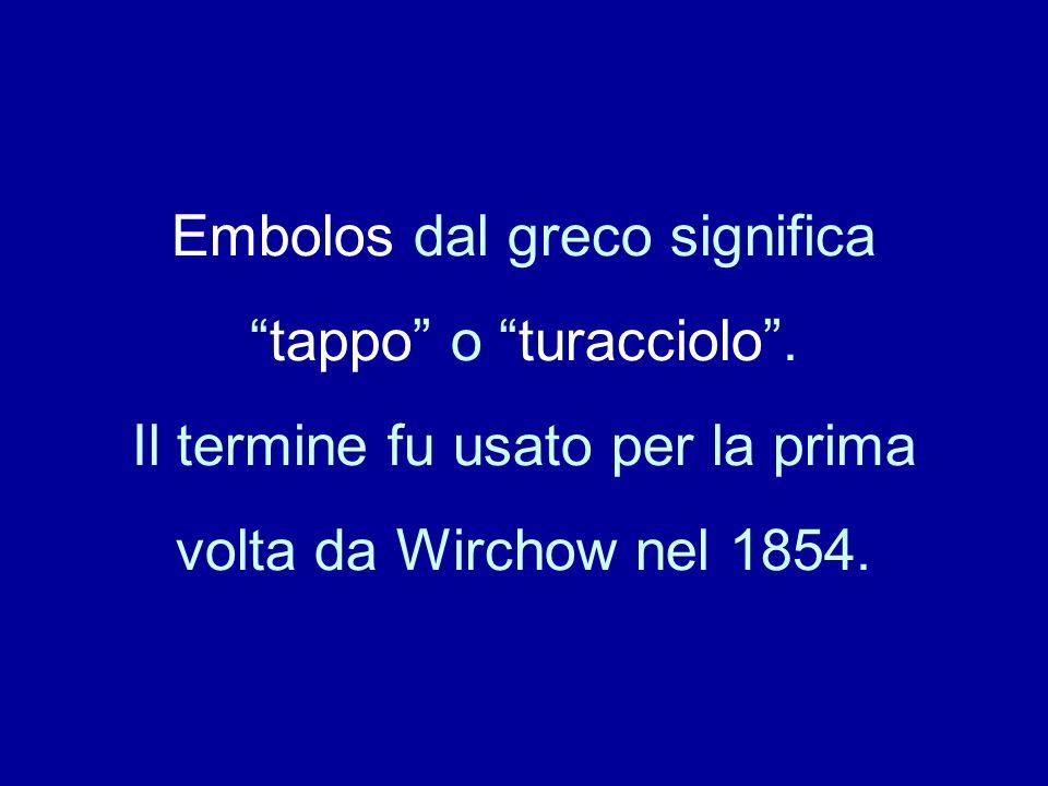 Embolos dal greco significatappo o turacciolo. Il termine fu usato per la prima volta da Wirchow nel 1854.