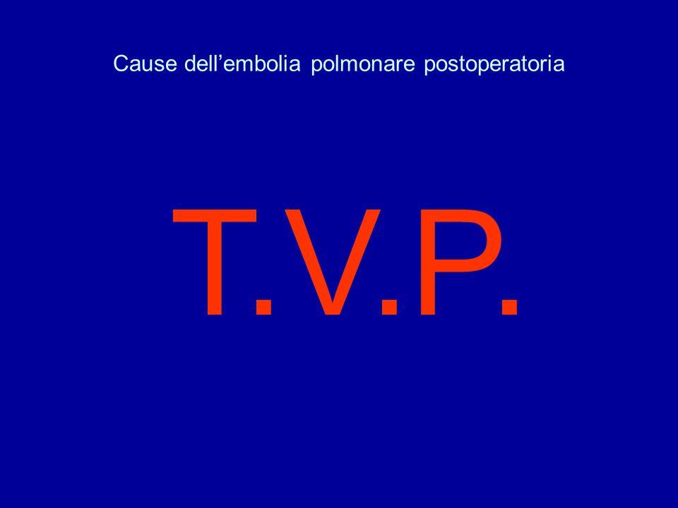 Cause dellembolia polmonare postoperatoria T.V.P.