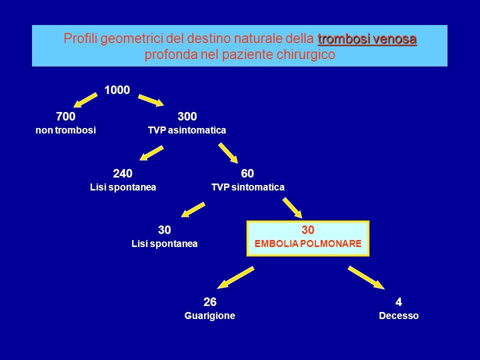 trombosi venosa Profili geometrici del destino naturale della trombosi venosa profonda nel paziente chirurgico 1000 700 non trombosi 300 TVP asintomat