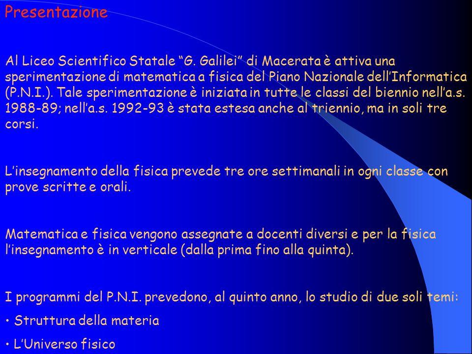 Presentazione Al Liceo Scientifico Statale G. Galilei di Macerata è attiva una sperimentazione di matematica a fisica del Piano Nazionale dellInformat