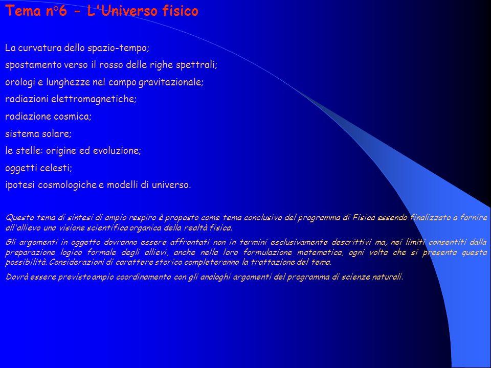 Tema n°6 - L Universo fisico La curvatura dello spazio-tempo; spostamento verso il rosso delle righe spettrali; orologi e lunghezze nel campo gravitazionale; radiazioni elettromagnetiche; radiazione cosmica; sistema solare; le stelle: origine ed evoluzione; oggetti celesti; ipotesi cosmologiche e modelli di universo.