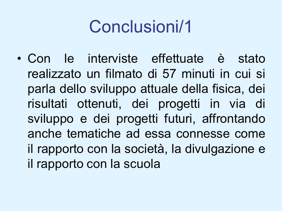 Conclusioni/1 Con le interviste effettuate è stato realizzato un filmato di 57 minuti in cui si parla dello sviluppo attuale della fisica, dei risulta
