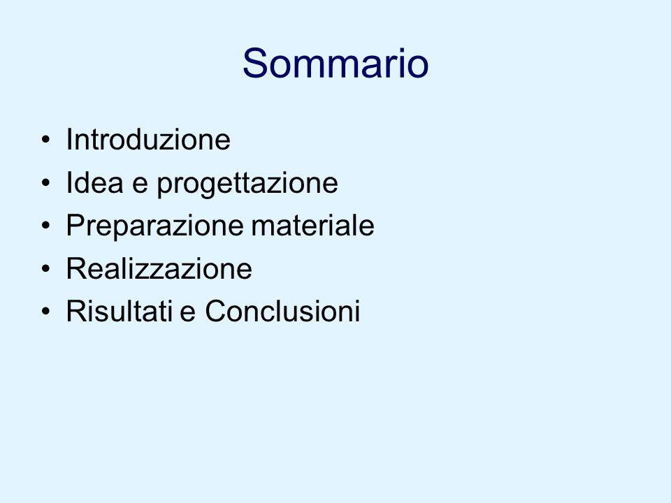 Sommario Introduzione Idea e progettazione Preparazione materiale Realizzazione Risultati e Conclusioni
