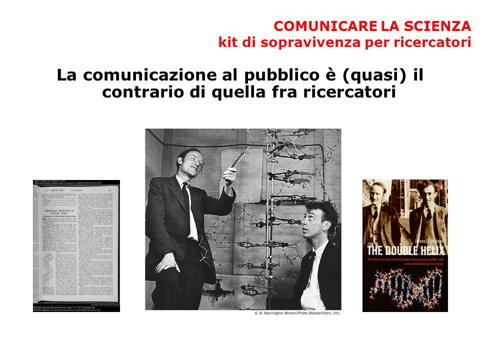 COMUNICARE LA SCIENZA kit di sopravivenza per ricercatori La comunicazione al pubblico è (quasi) il contrario di quella fra ricercatori