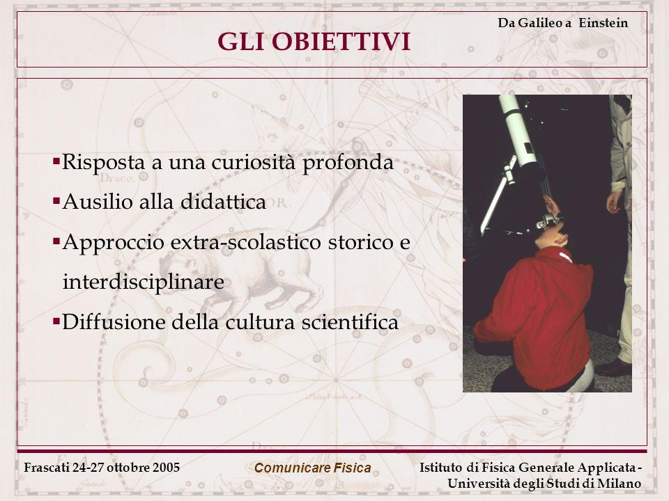 Frascati 24-27 ottobre 2005 Comunicare Fisica Istituto di Fisica Generale Applicata - Università degli Studi di Milano Da Galileo a Einstein GLI OBIETTIVI Risposta a una curiosità profonda Ausilio alla didattica Approccio extra-scolastico storico e interdisciplinare Diffusione della cultura scientifica