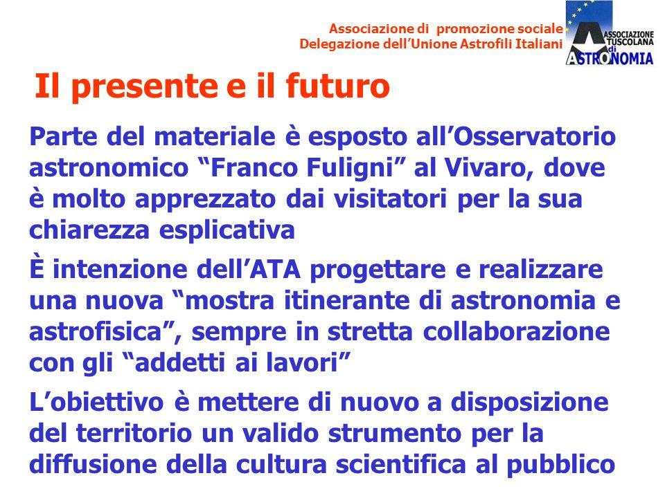 Associazione di promozione sociale Delegazione dellUnione Astrofili Italiani Parte del materiale è esposto allOsservatorio astronomico Franco Fuligni