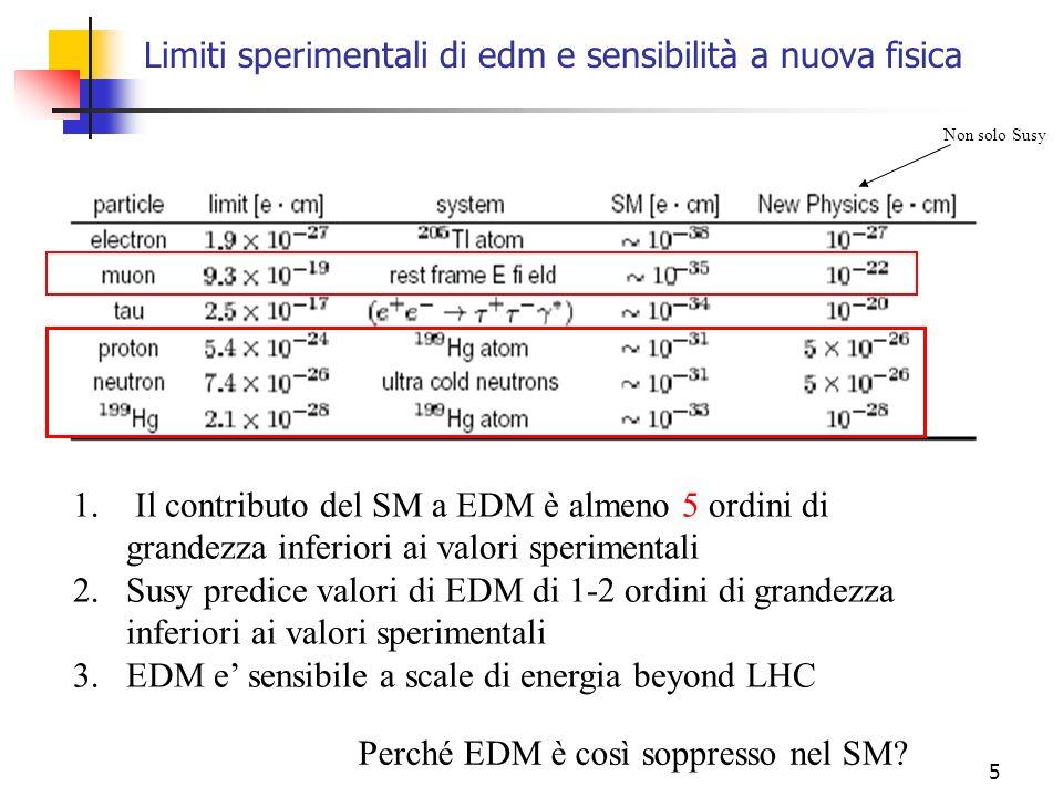 5 Limiti sperimentali di edm e sensibilità a nuova fisica 1. Il contributo del SM a EDM è almeno 5 ordini di grandezza inferiori ai valori sperimental