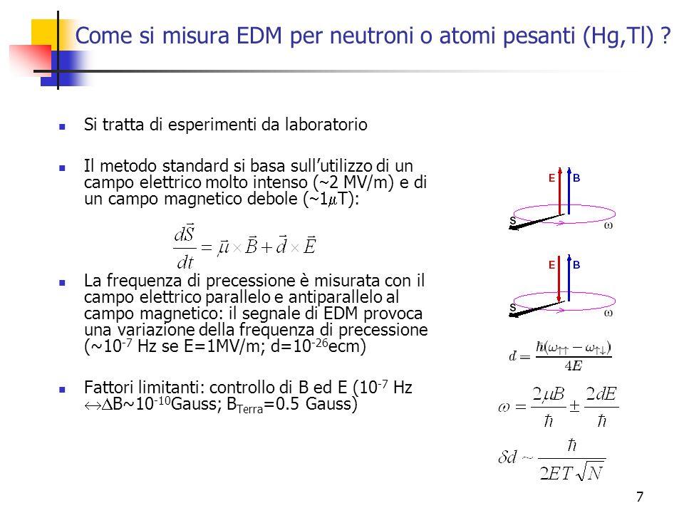 7 Come si misura EDM per neutroni o atomi pesanti (Hg,Tl) ? Si tratta di esperimenti da laboratorio Il metodo standard si basa sullutilizzo di un camp