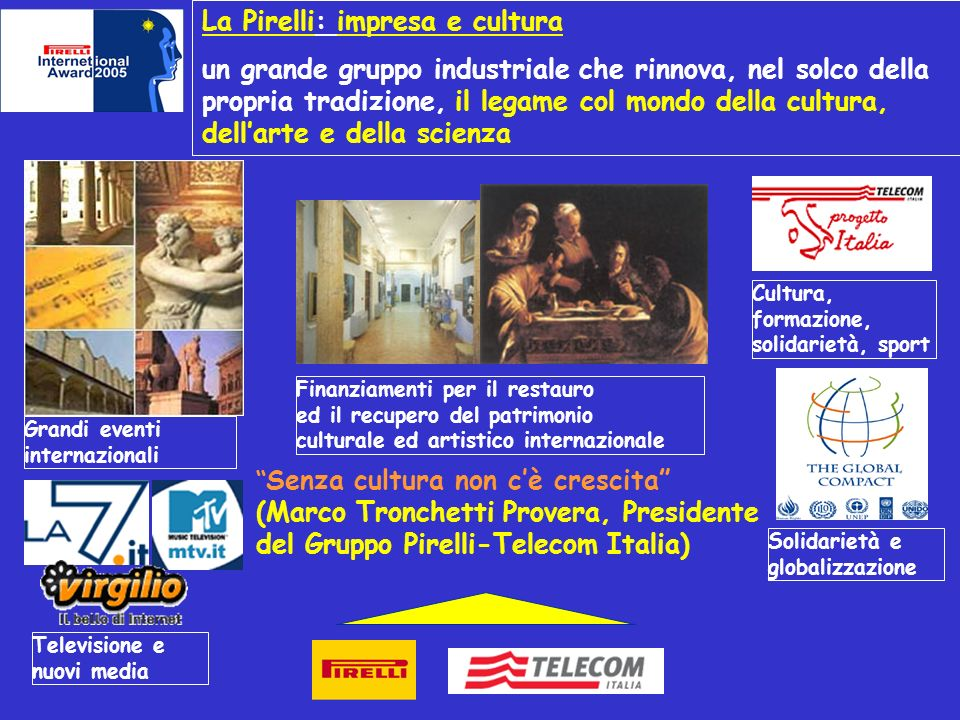 La Pirelli: impresa e cultura un grande gruppo industriale che rinnova, nel solco della propria tradizione, il legame col mondo della cultura, dellart