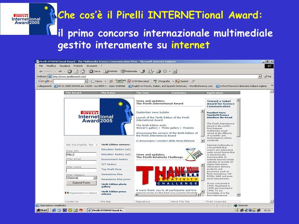 Che cosè il Pirelli INTERNETional Award: il primo concorso internazionale multimediale gestito interamente su internet