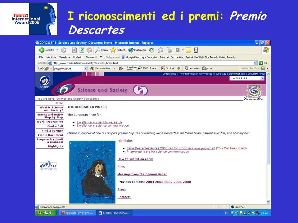 I riconoscimenti ed i premi: Premio Descartes