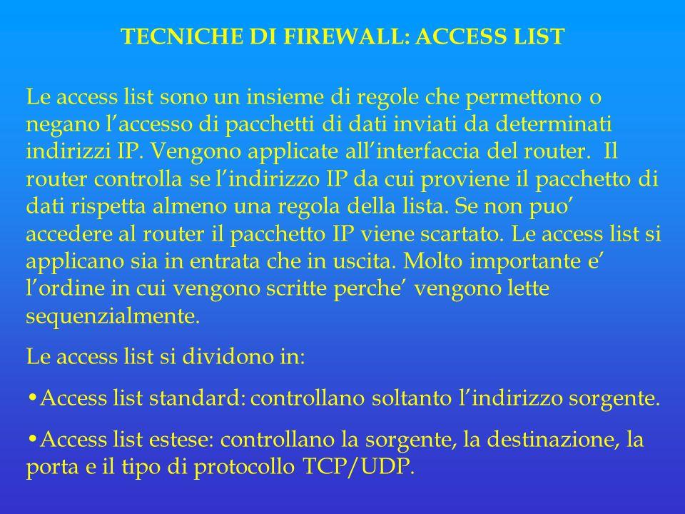 TECNICHE DI FIREWALL: ACCESS LIST Le access list sono un insieme di regole che permettono o negano laccesso di pacchetti di dati inviati da determinati indirizzi IP.