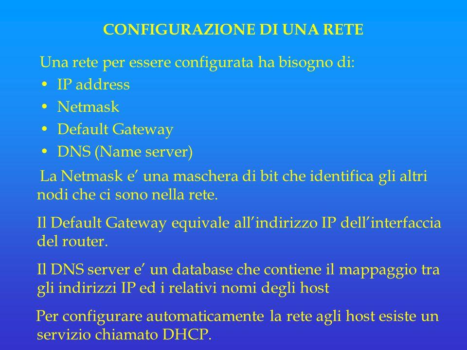 CONFIGURAZIONE DI UNA RETE Una rete per essere configurata ha bisogno di: IP address Netmask Default Gateway DNS (Name server) La Netmask e una maschera di bit che identifica gli altri nodi che ci sono nella rete.