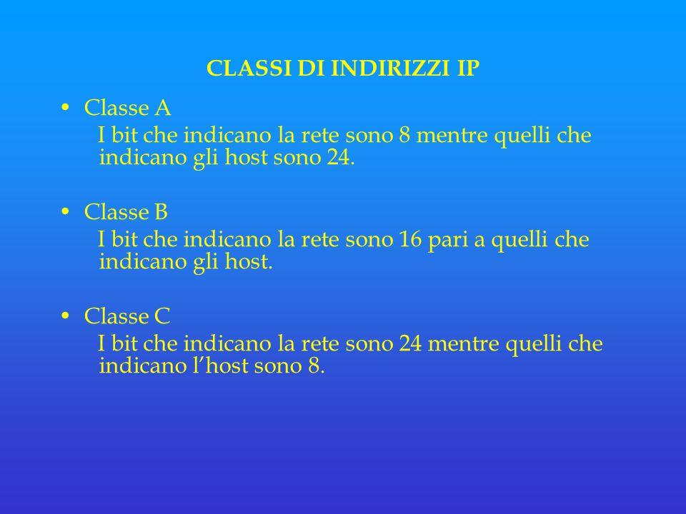 CLASSI DI INDIRIZZI IP Classe A I bit che indicano la rete sono 8 mentre quelli che indicano gli host sono 24.