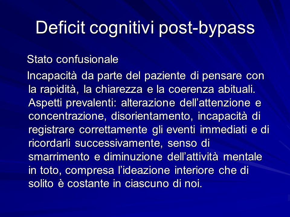 Deficit cognitivi post-bypass Stato confusionale Stato confusionale Incapacità da parte del paziente di pensare con la rapidità, la chiarezza e la coe