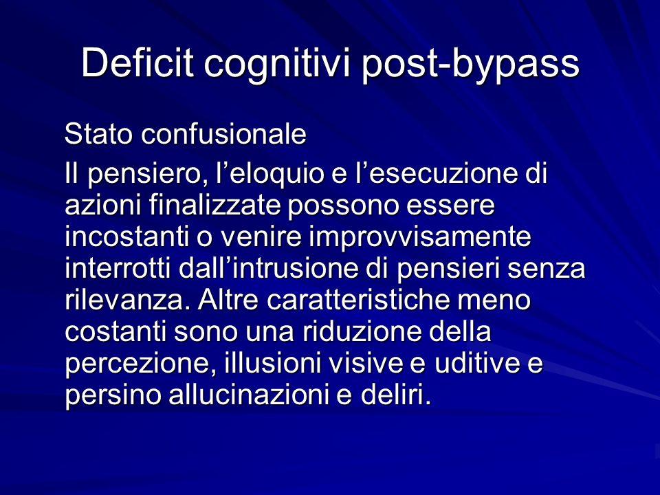 Deficit cognitivi post-bypass Stato confusionale Stato confusionale Il pensiero, leloquio e lesecuzione di azioni finalizzate possono essere incostant
