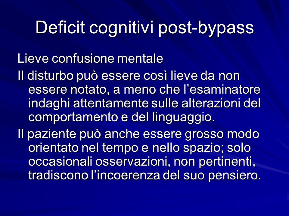 Deficit cognitivi post-bypass Lieve confusione mentale Il disturbo può essere così lieve da non essere notato, a meno che lesaminatore indaghi attenta