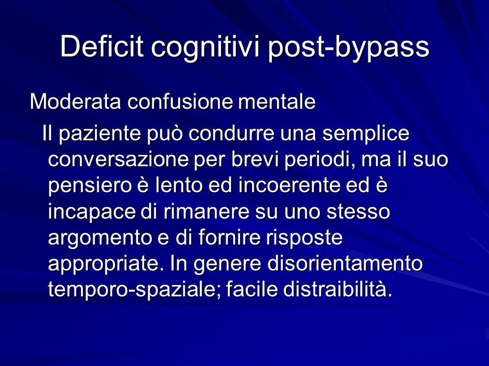 Deficit cognitivi post-bypass Moderata confusione mentale Il paziente può condurre una semplice conversazione per brevi periodi, ma il suo pensiero è